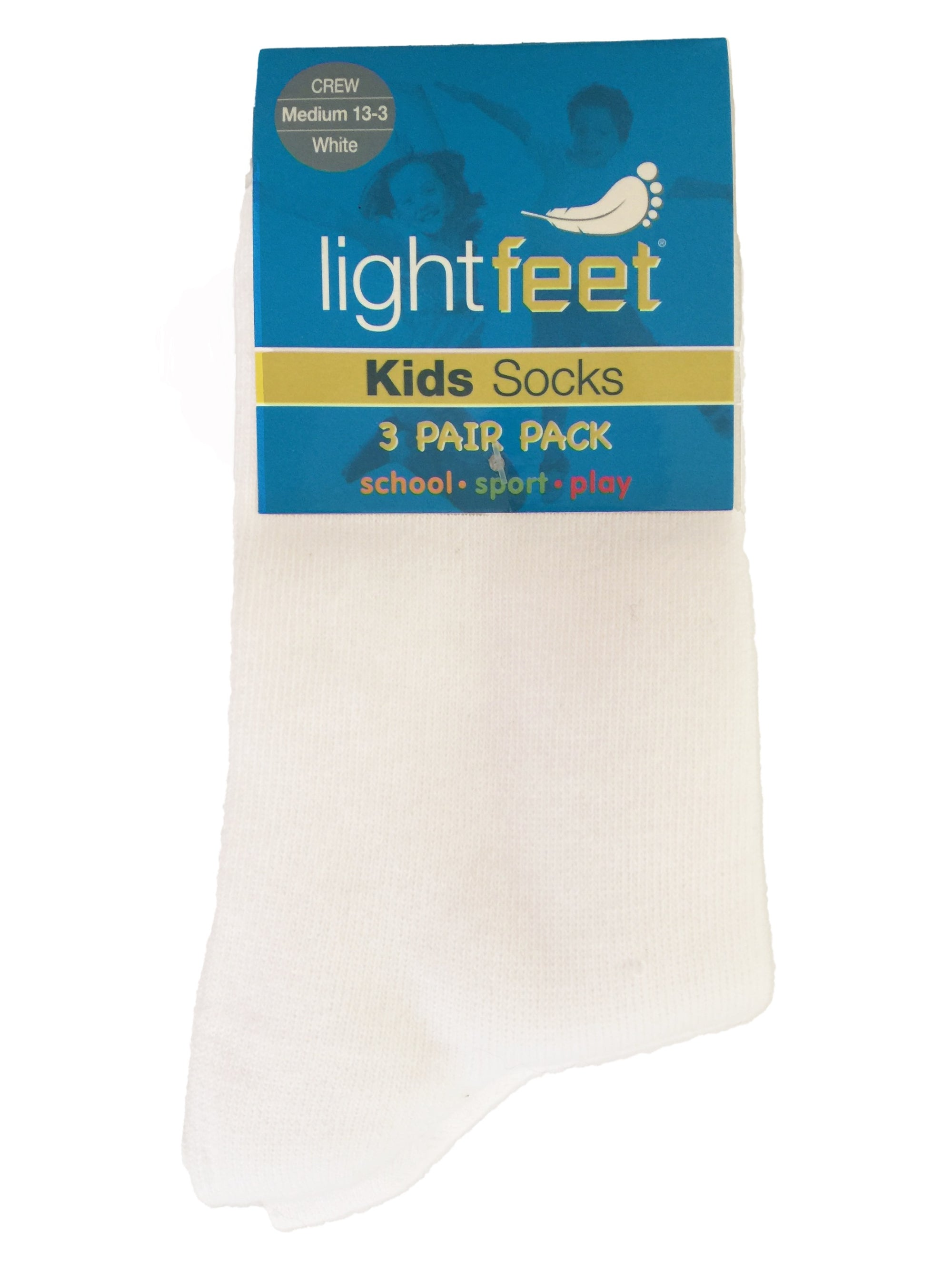 Lightfeet Kids School | Sport | Play Socks 3 Pack (Crew) - White