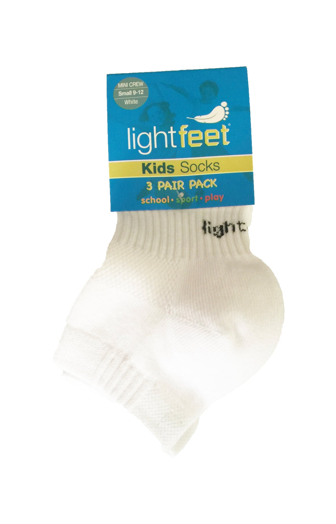Lightfeet Kids School | Sport | Play Socks 3 Pack (Mini-Crew) - White