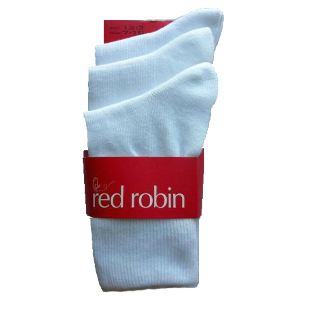 Red Robin Kids School Socks - Turnover 3 Pack White