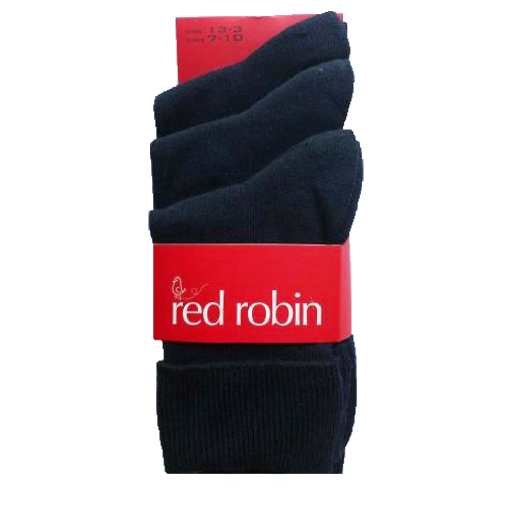 Red Robin Kids School Socks - Turnover 3 Pack Navy