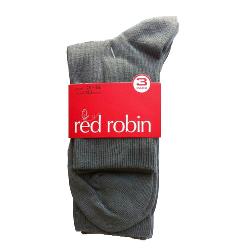 Red Robin Kids School Socks - Turnover 3 Pack Grey