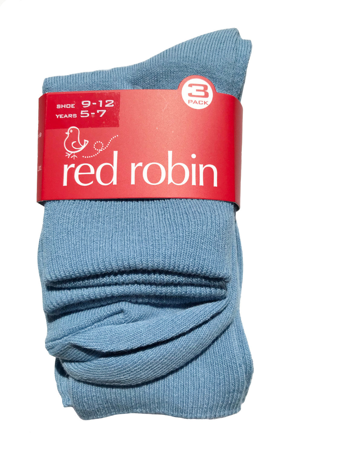 Red Robin Kids School Socks - Turnover 3 Pack Light Blue Saxe