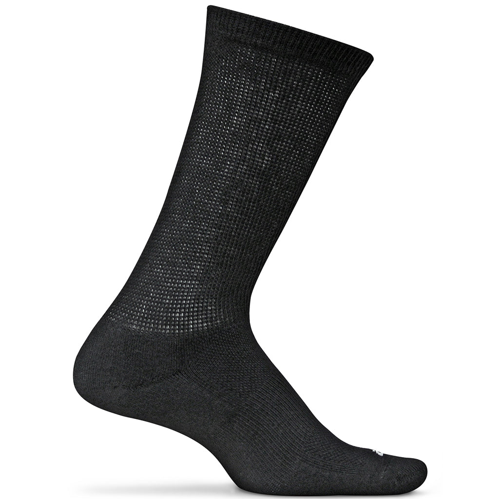 Feetures! Diabetic Active Crew Socks - Black
