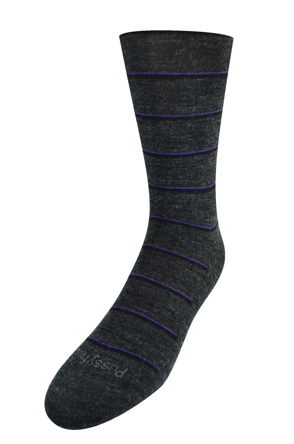 Pussyfoot Wool Non-Elastic Health Socks - Charcoal Stripe