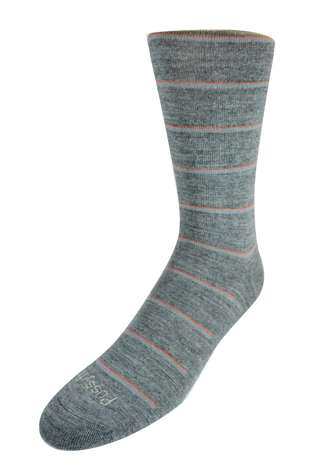 Pussyfoot Wool Non-Elastic Health Socks - Mid Grey Stripe