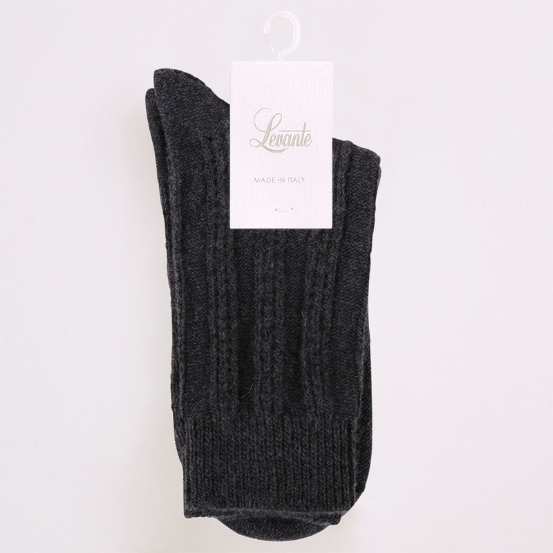 Levante Zita Crew Socks - Charcoal