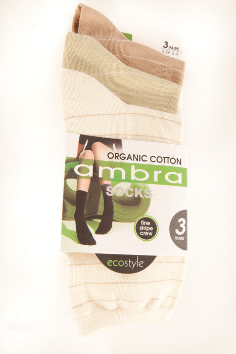 Ambra Organic Cotton Fine Stripe Socks (Ivory)