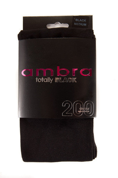 Ambra Totally Black Opaque Tights