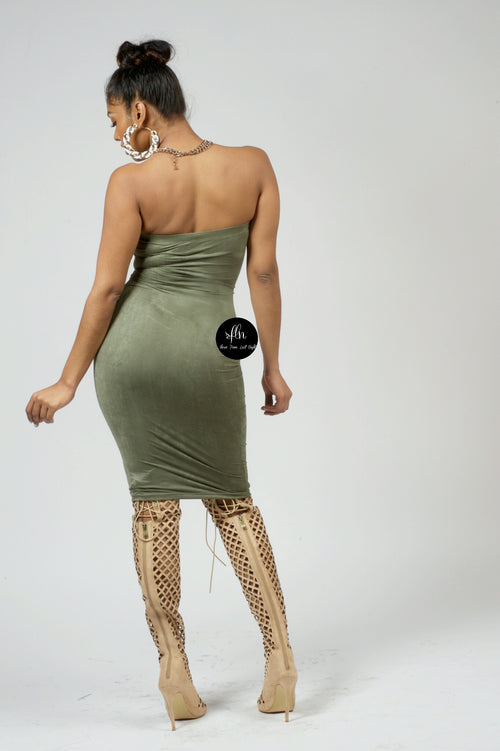 Olive Suede Tube Dress - Shoes From Last Night - 2