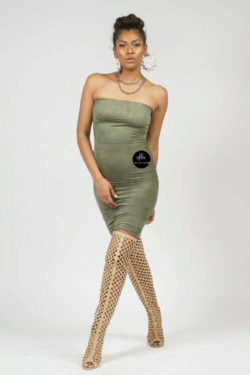 Olive Suede Tube Dress - Shoes From Last Night - 1