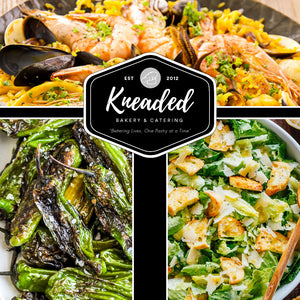 Delivery 5/5 and 5/7, Seafood Paella with Shrimp, Linguicia, Caesar Salad, and Shishito Peppers
