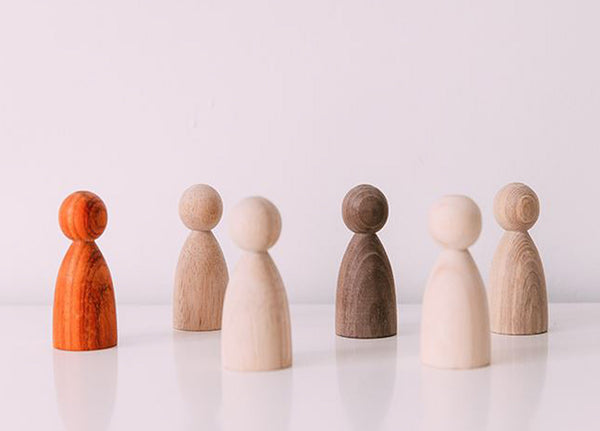 Six Natural Wooden People Set