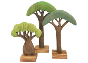Wood African Trees 3pc