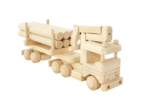 Wooden Trucks with Logs and Crane