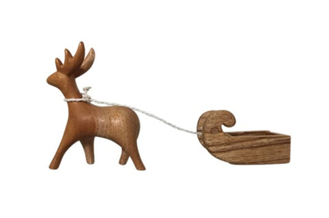 Wooden Reindeer and Sleigh Set