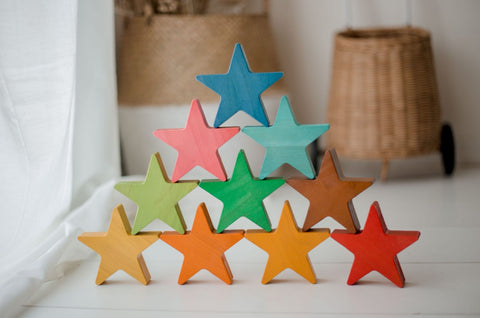 Wooden Stars Set of 10
