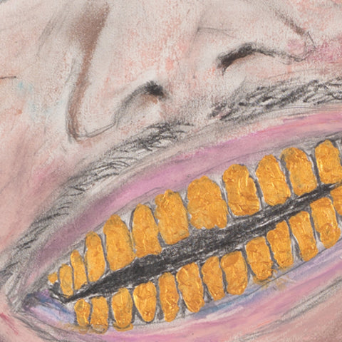"""""""hey rappers,""""  Gold teeth close upt.  oil pastel by ryan lutz about rapper Dababy"""