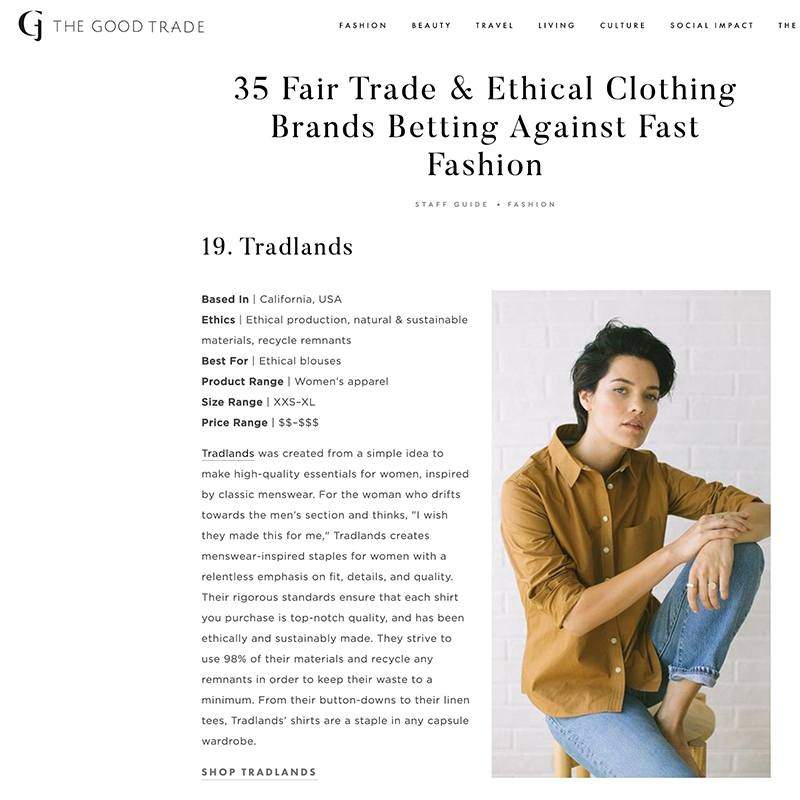 42d4e980f The Good Trade. 35 Fair Trade & Ethical Clothing Brands Betting Against  Fast Fashion