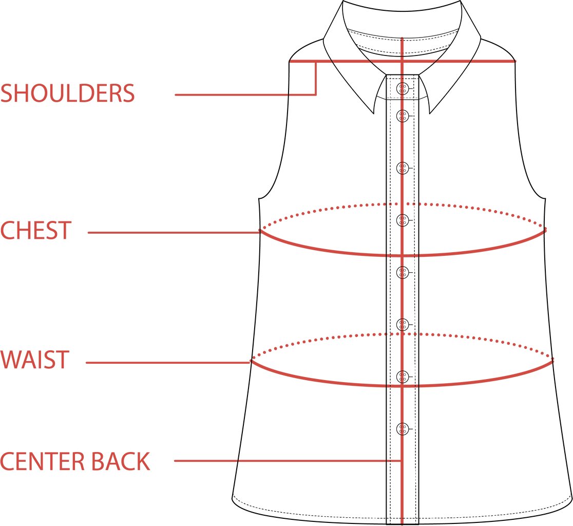 Sleeveless  Size Guide | Tradlands