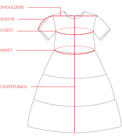 Chalet Tiered Dress Size Guide