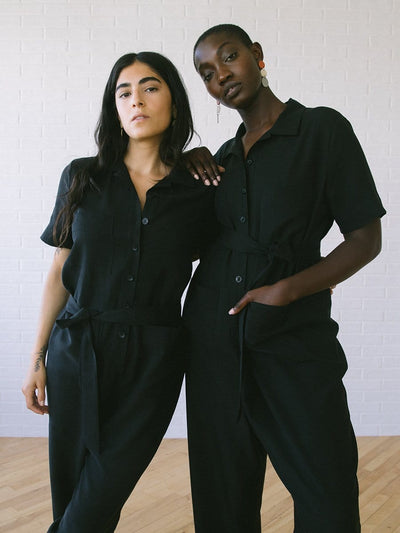 Jumpsuits & Rompers for Women | Finn Jumpsuit Black Linen Tencel