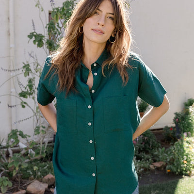 Short Sleeve Shirt for Women | Short Sleeve Box Top Emerald