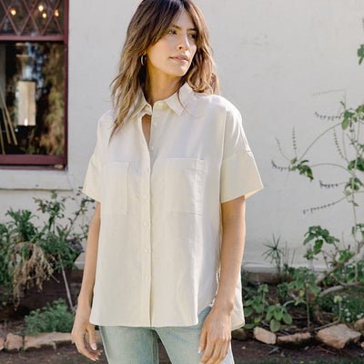Short Sleeve Shirt for Women | Short Sleeve Box Top Meringue