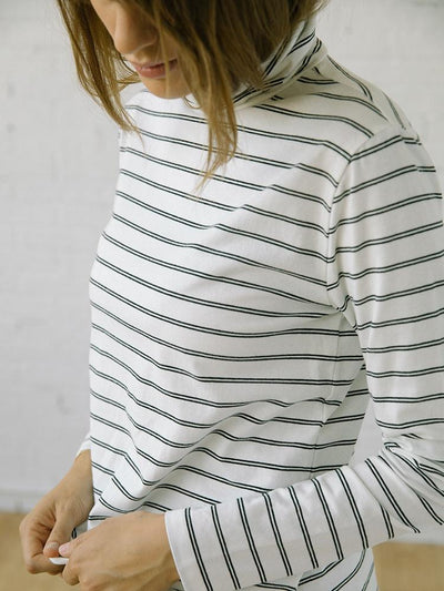 Women's Turtlenecks | The Monty White Stripe