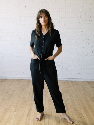 Jumpsuits Rompers for Women | Finn Jumpsuit Linen Tencel Black