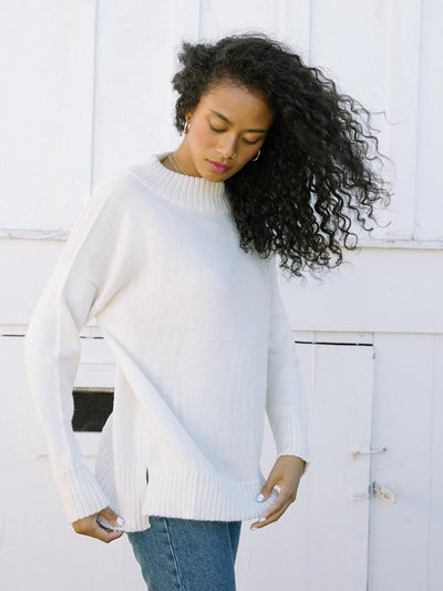 Women's Mock Neck Sweater | Haven Mock Neck Sweater Natural