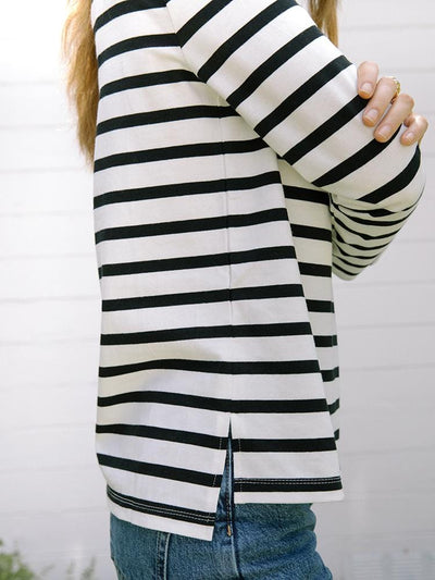 Women's Turtleneck | Monty Striped Turtleneck Black