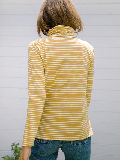 Women's Turtleneck | Monty Striped Turtleneck Gold