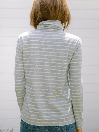 Women's Turtleneck | Monty Striped Turtleneck Grey