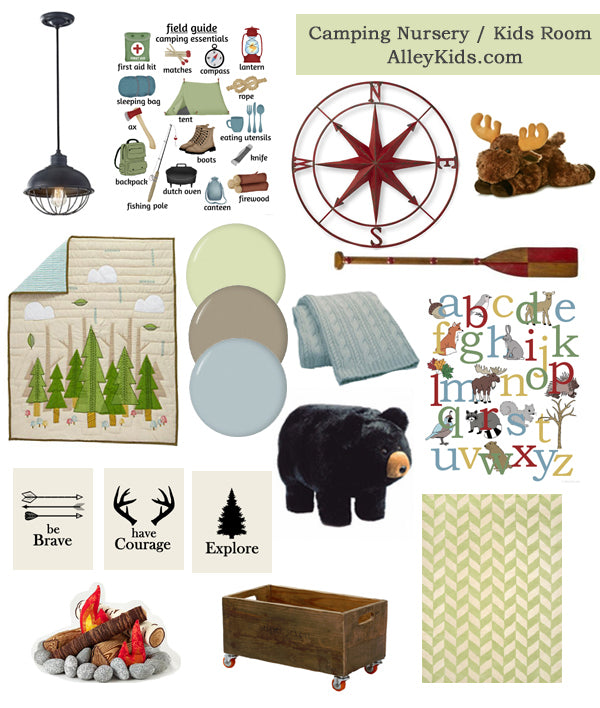 Camping Design Nursery Board, Woodland Theme Kids Bedroom