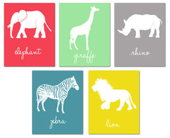 Jungle Animal Nursery Art, elephant, zebra, giraffe, lion, rhino