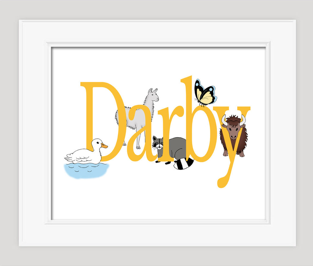 Childrens Art, Personalized Nursery Art, Animals | Alley Kids ...