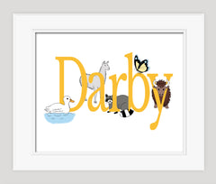 Animal Name Print, Nursery art,