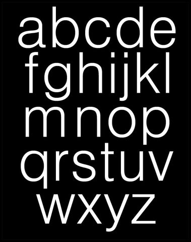 Black and White Alphabet Poster - Lower Case