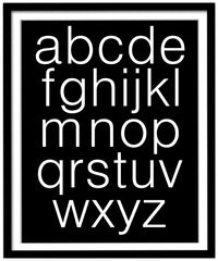 Black and white alphabet poster, lower case