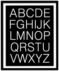 Black and White Alphabet Poster, Upper Case