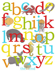 Ocean Alphabet Poster, Illustrated