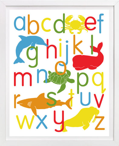 Ocean Animal Alphabet Poster, Sea Life