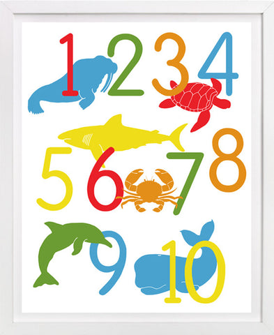 Ocean Animal Number Poster, Sea Life