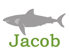 Childrens shark art, personalized, ocean nursery