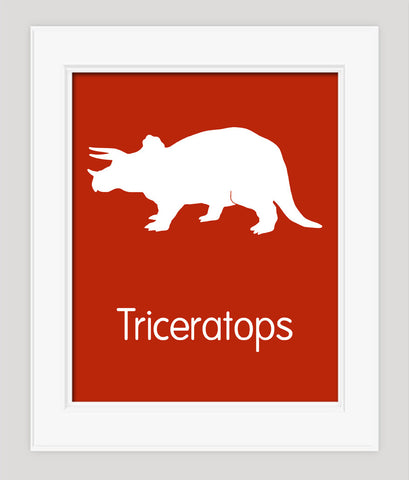 Dinosaur Childrens Art, Triceratops, Nursery Art