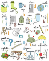 Alphabet Poster with illustrations. ABC Art