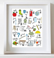 Alphabet Poster, Illustrated Nursery Art