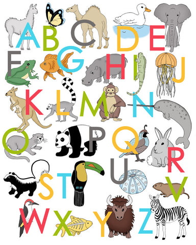 Animal Alphabet Poster - Upper Case