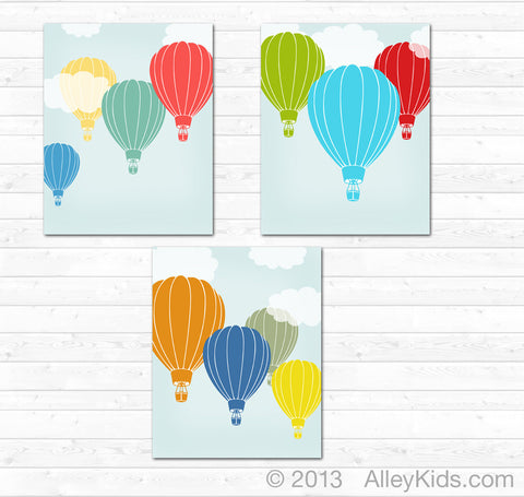 Hot Air Balloon Nursery Art, Nursery Decor, Set of 3