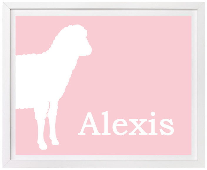 Lamb Nursery Art, Personalized Print